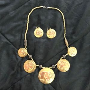 Bronze metal statement necklace with earrings
